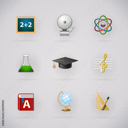 Education pictogram icons set