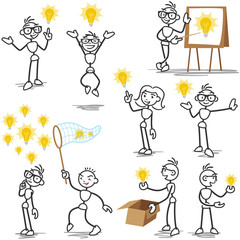 Stickman light bulb idea creative thinking plagiarism