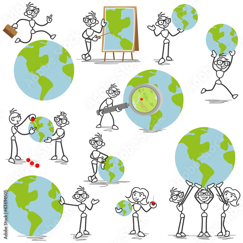 Business stick man globe travel international