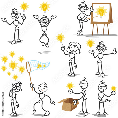 Stickman light bulb idea creative thinking plagiarism