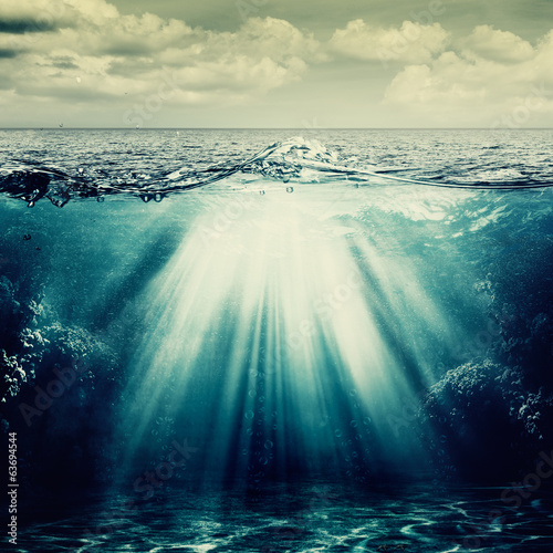 In de dag Golven Under the ocean surface, abstract natural backgrounds