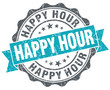 Happy hour turquoise grunge retro vintage isolated seal