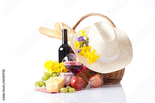 picnic backet with wine and fruits - 63694762
