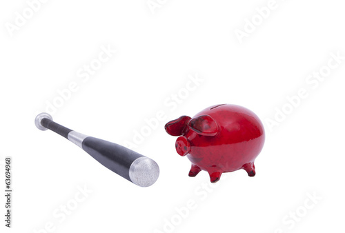 Piggy bank with baseball bat