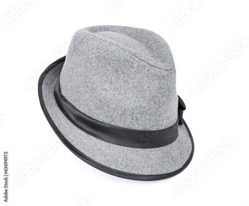 Cool grey, felt trilby/fedora hat isolated on a white background