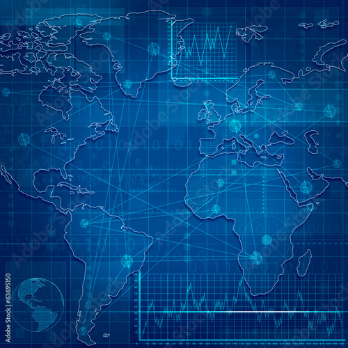 Global Communications. Abstract techno backgrounds for your desi