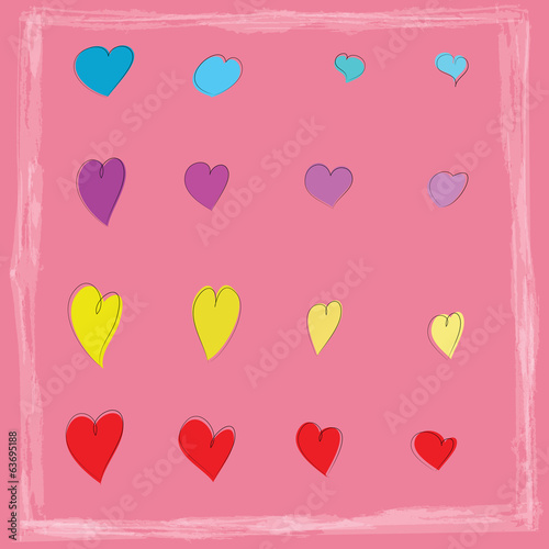Colorful hearts icon background,vector design