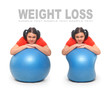 Slimming concept. Women with blue ball.