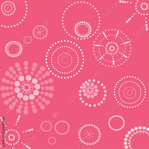 Vector retro pink and white seamless dotted circle background