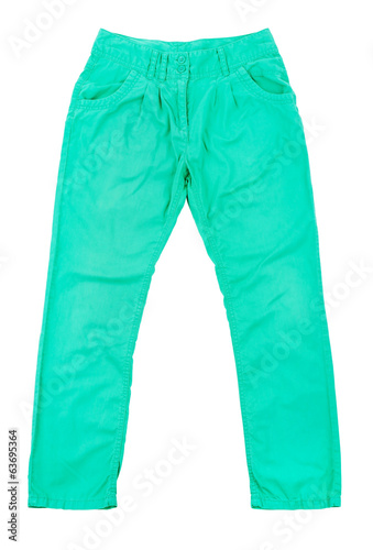 green slim male jeans isolated on white background