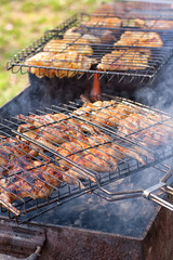 Preparation of marinated quail on the grill
