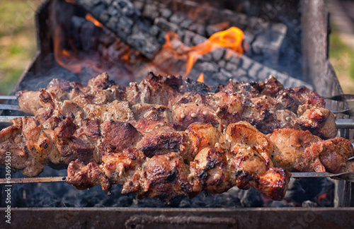 Shish kebab on skewers on the fire