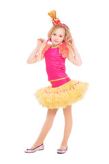 Beautiful little girl posing in candy suit