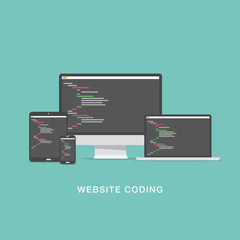 Flat website coding development vector illustration
