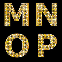 Golden metallic shiny letters M, N, O, P