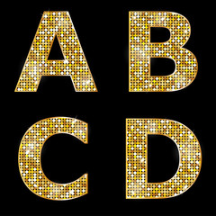 Golden metallic shiny letters A, B, C, D