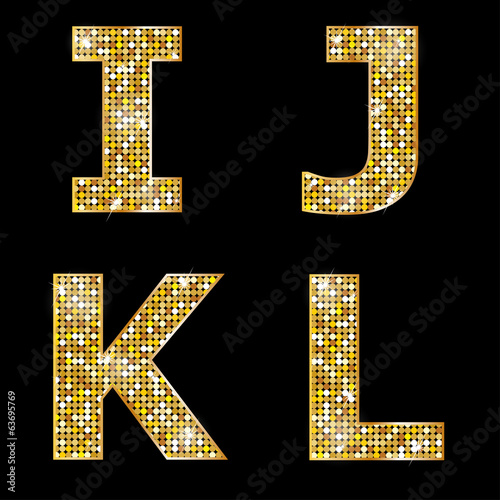 Golden metallic shiny letters I, J, K, L