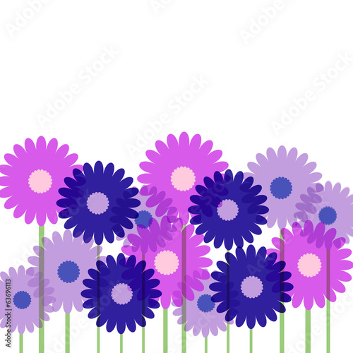 Background with pink and lilac flowers, vector illustration