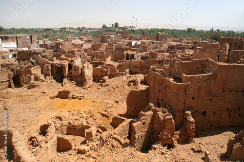 Old part (citadel) of desert town Mut in Dakhla oazis in Egypt