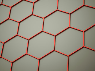 Orange abstract hexagonal cell background