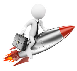 3D white people. Businessman on a rocket