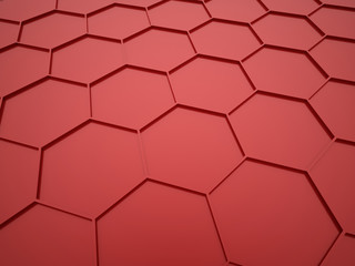 Red abstract hexagonal mesh