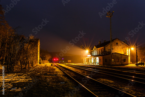 Old railway station at night, Hodkovice nad Mohelkou