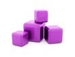 Purple cubes isolated on white