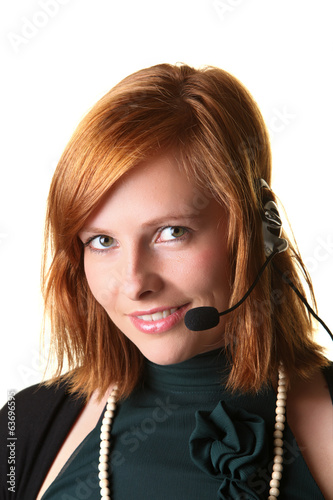 Business woman with a headphone