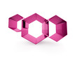 Pink hexagons cell business concept isolated