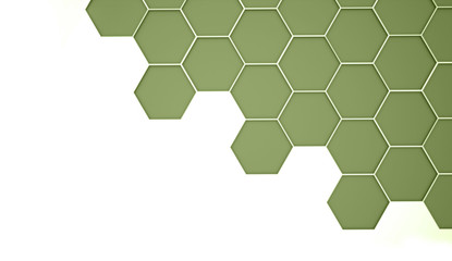 Green abstract hexagonal cell background