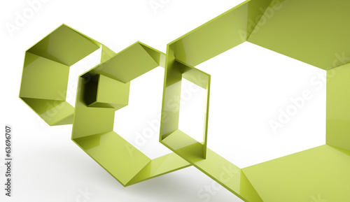 Green abstract hexagonal cell background rendered