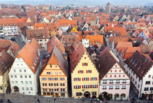 Aerial panorama of the Old Town, Rothenburg ob der Tauber