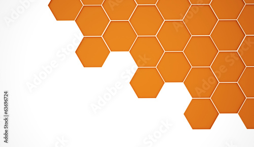 Abstract orange hexagonal background
