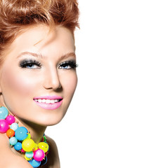 Beauty girl portrait with fashion hairstyle and colorful makeup