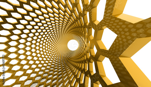 Yellow abstract hexagonal
