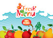 banner for juices and fresh fruit