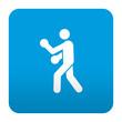 Etiqueta tipo app azul simbolo boxeo