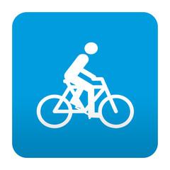 Etiqueta tipo app azul simbolo ciclista