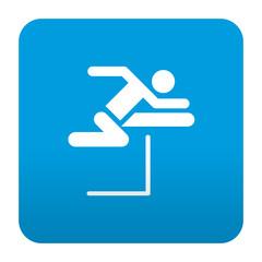 Etiqueta tipo app azul simbolo salto de vallas