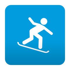Etiqueta tipo app azul simbolo snowboard