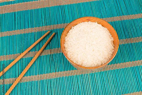 Rice and chopsticks