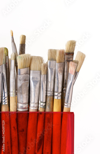 Artist brushes on white background