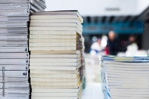 Closeup of library books