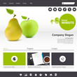 Green eco website template with photorealistic fruit vector,