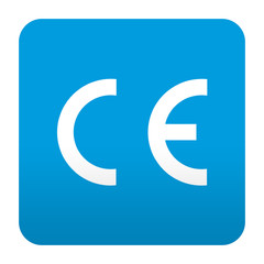 Etiqueta tipo app azul simbolo CE