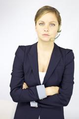 Professional helpline receptionist looking