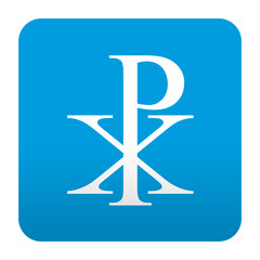 Etiqueta tipo app azul simbolo crismon