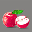 Vector fresh red apples with water drops. Vector illustration.