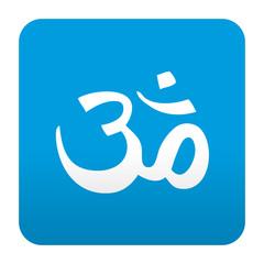 Etiqueta tipo app azul simbolo Om